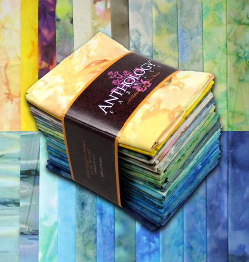 'PARADISE II' MULTI-COLOR - 24 HAND MADE BATIK FAT QUARTERS - FQ24-06