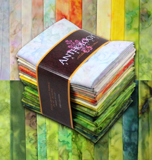 'LOWLANDS' MULTI-COLOR - 24 HAND MADE BATIK FAT QUARTERS - FQ24-07