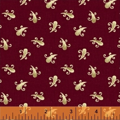 TAN FEATHERS ON DARK RED FABRIC - 43409-4 - Clayton (1860-1895)