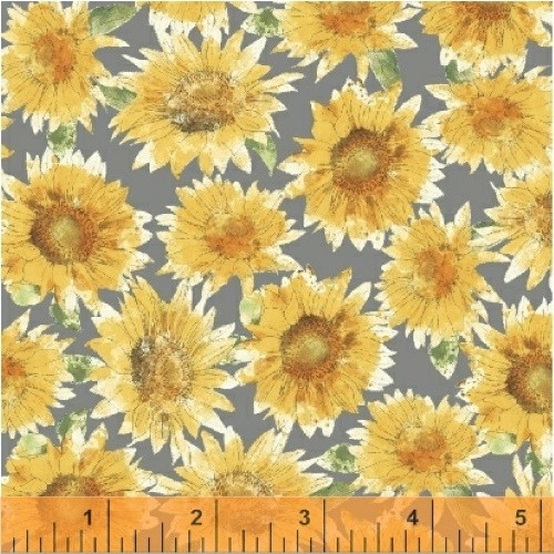 SUNFLOWERS ON GRAY FABRIC - 43315-1 - Bee My Sunshine
