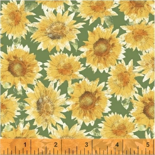 SUNFLOWERS ON GREEN FABRIC - 43315-4 - Bee My Sunshine