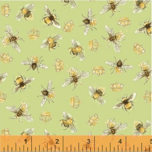 BEES AND GOLD CROWNS ON GREEN FABRIC - 43317-4 - Bee My Sunshine