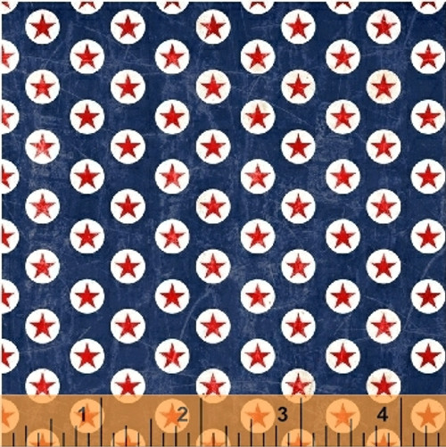 RED STARS IN WHITE CIRCLE ON BLUE FABRIC - 40328-4