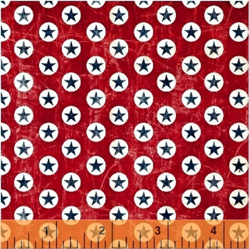 BLUE STARS IN WHITE CIRCLE ON RED FABRIC - 40328-3 - USA - Windham Fabrics