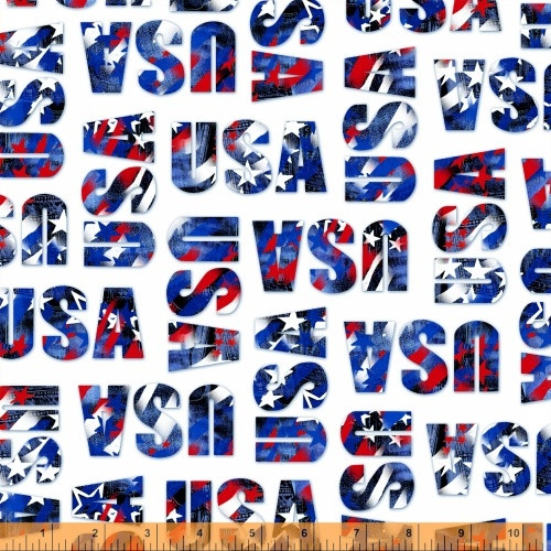 RED, WHITE AND BLUE TOSSED 'USA' ON WHITE FABRIC - 40330 - USA