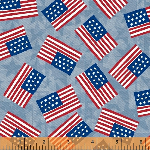 TOSSED US FLAGS ON LIGHT BLUE DENIM COLORED FABRIC - 40329-2 - USA