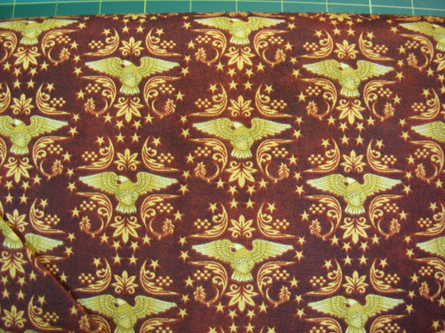 GOLDEN EAGLE SHIELDS ON BURGUNDY FABRIC - 1649-24177-M - For Love of Country
