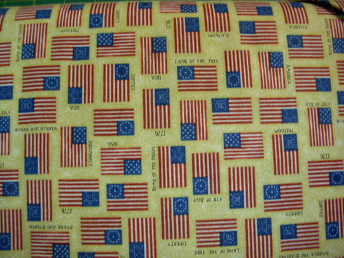 ASSORTED FLAGS ON TAN FABRIC - 1649-24178-E - For Love of Country