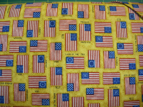 ASSORTED FLAGS ON GOLD FABRIC - 1649-24178-S - For Love of Country