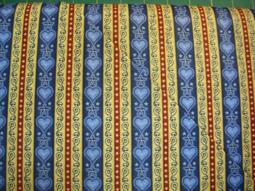 RED, GOLD AND BLUE BORDER STRIPE ON BLUE FABRIC - 1649-24180-N - For Love of Country