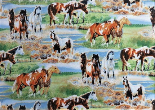 VARIOUS SCENES OF HORSES IN THE PASTURE FABRIC - Q1885-9124-721