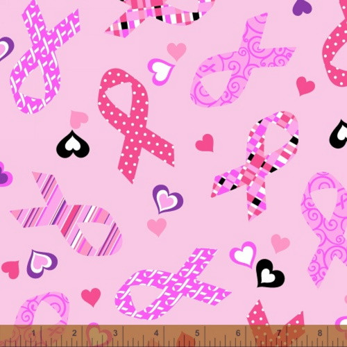 TOSSED RIBBONS AND HEARTS ON PINK FABRIC - 39709-1