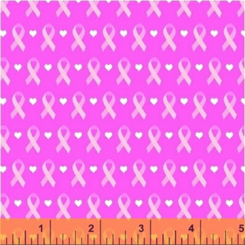 LINEAR RIBBONS AND HEARTS ON PINK FABRIC - 39710-3