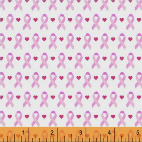 LINEAR RIBBONS AND HEARTS ON WHITE BREAST CANCER FABRIC - 39710-2