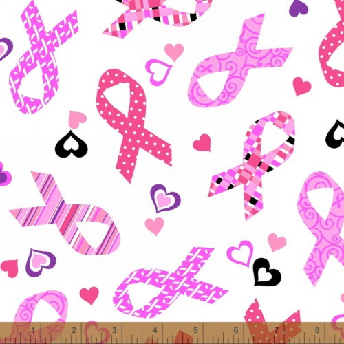 TOSSED RIBBONS AND HEARTS ON WHITE BREAST CANCER FABRIC - 39709-2