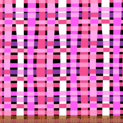 PINK AND WHITE BASKET WEAVE LOOK ON BLACK FABRIC - 39708-X