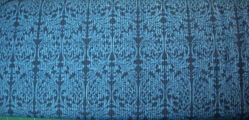 LIGHT BLUE ON DARK BLUE SCROLL PATTERN FABRIC - 5JYD-5