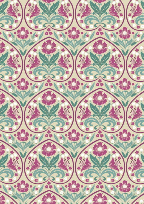 RED HEART OUTLINES W/PURPLE, GREEN & WHITE FLORALS ON GRAY
