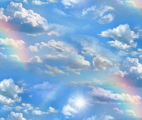 CLOUDS AND RAINBOWS ON BLUE SKY FABRIC - 460-Blue