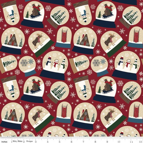 ASSORTED SNOW GLOBES ON RED DESIGNER FLANNEL FABRIC - F7770-Red