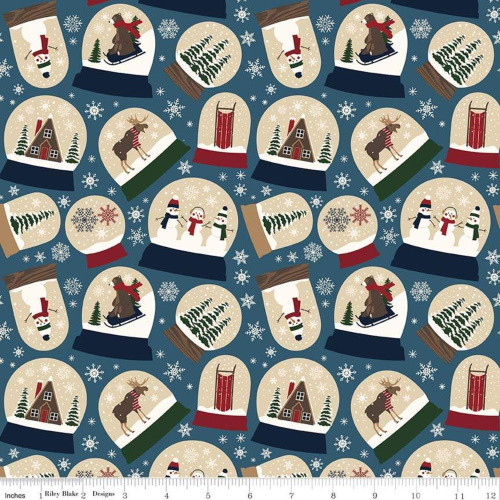 ASSORTED SNOW GLOBES ON BLUE DESIGNER FLANNEL FABRIC - F7770-Blue