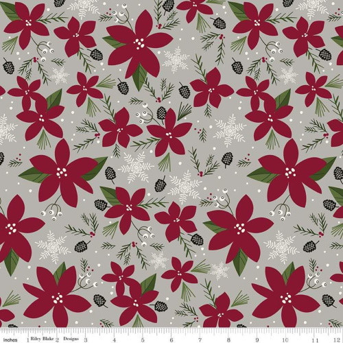 POINSETTIAS AND SNOWFLAKES ON GRAY FABRIC - C8440-Gray