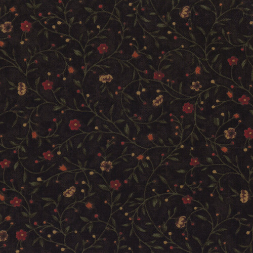 FLORAL WINDING VINES ON CHOCOLATE BROWN - 9410-13