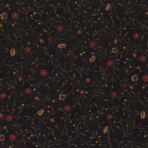 FLORAL WINDING VINES ON CHOCOLATE BROWN - 9410-13