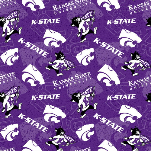 KSU WILDCATS TONE ON TONE FABRIC - KSU-1178