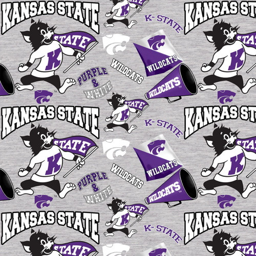 KSU WILDCATS MASCOTS AND LOGOS ON GRAY FABRIC - KSU-1164