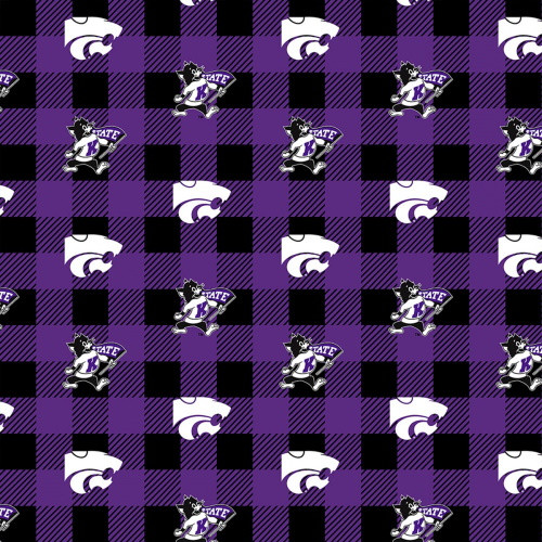 KSU WILDCATS LOGO ON BUFFALO PLAID FLEECE - 1190-KSU