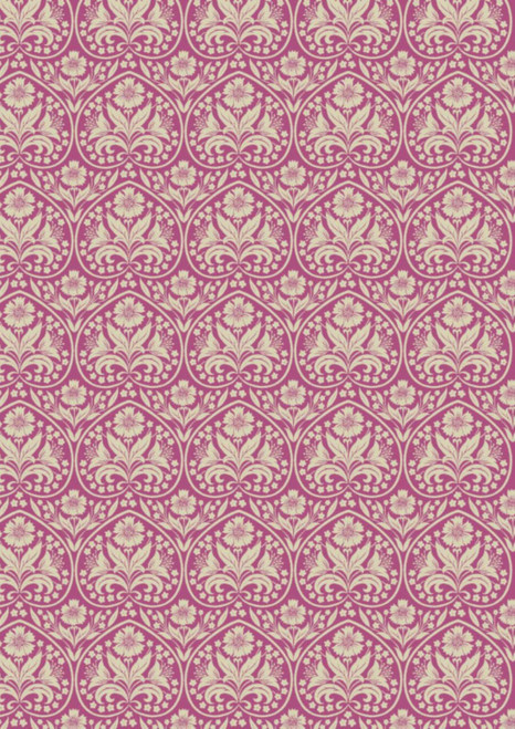 WHITE HEART OUTLINES WITH WHITE FLORALS ON FUCHSIA