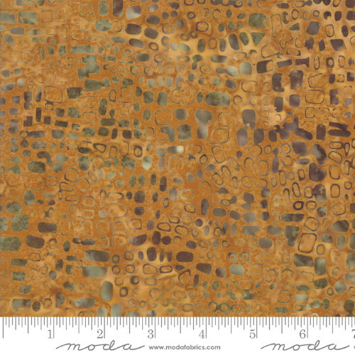 GOLD AND BROWN SPOTS PRINT BATIK FABRIC - 4353-20