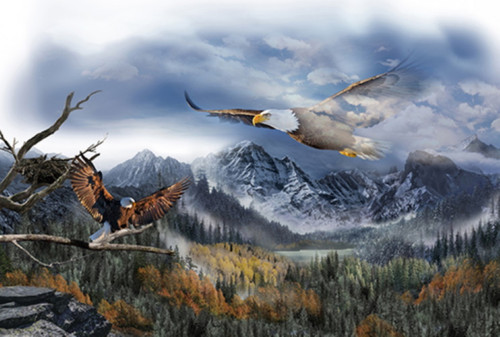 SOARING EAGLE WITH MOUNTAINS & SKY PANEL - Q4489-16-Sky