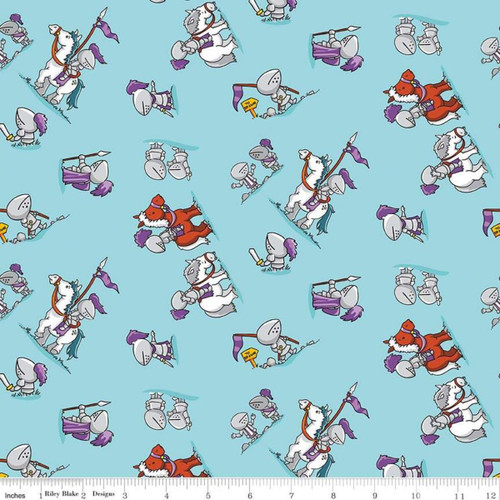 KNIGHTS ON PONIES ON LIGHT BLUE FABRIC - C7663 Blue
