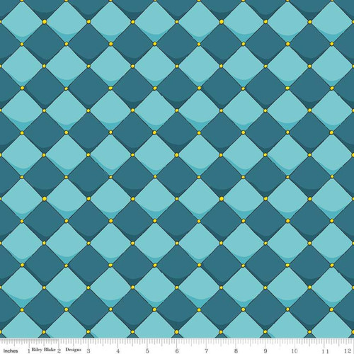 BLUE DIAMONDS WITH GOLD POINT ACCENTS FABRIC - C7665 Blue