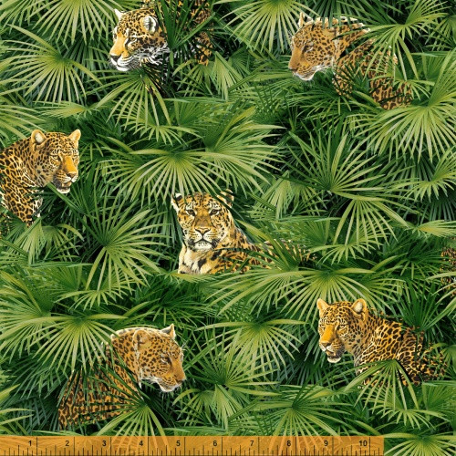 BIG CATS IN THE JUNGLE FABRIC - 40254-X