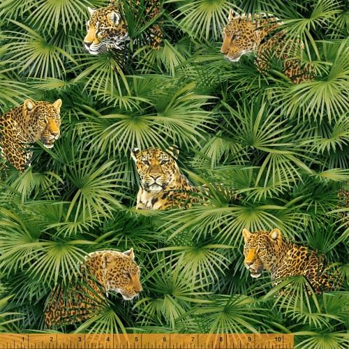 BIG CATS IN THE JUNGLE FABRIC - 40254-X