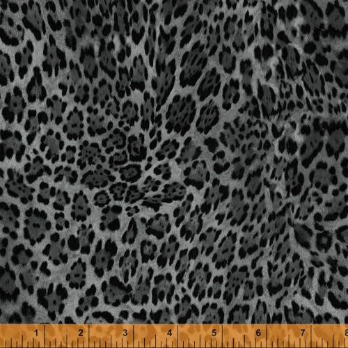 BLACK AND GRAY LEOPARD PRINT FABRIC - 40258-4