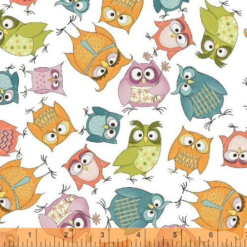 OWLBERT AND FRIENDS ON WHITE FABRIC - 51592-1 White