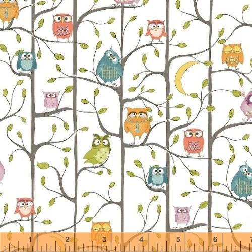 OWL TREEHOUSE ON WHITE FABRIC - 51593-1 White