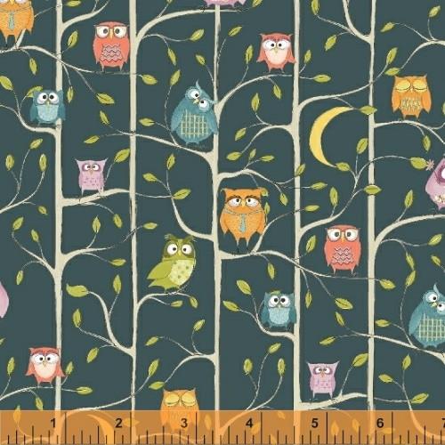 OWL TREEHOUSE ON DARK TEAL FABRIC - 51593-3 Teal