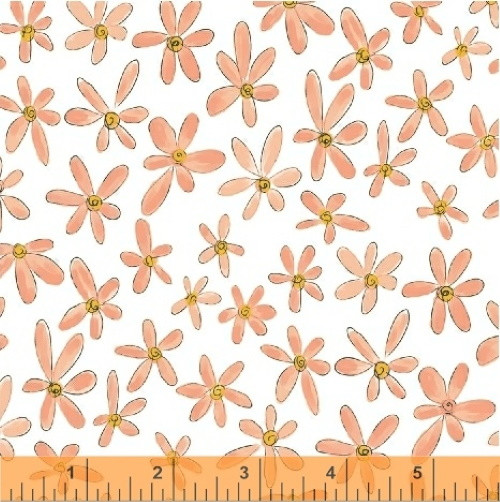 CORAL FLOWERS ON WHITE FABRIC - 51598-4 Coral