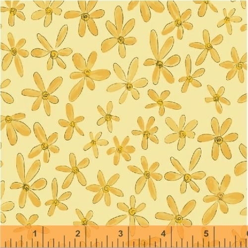 YELLOW FLOWERS ON BANANA FABRIC - 51598-5 Banana