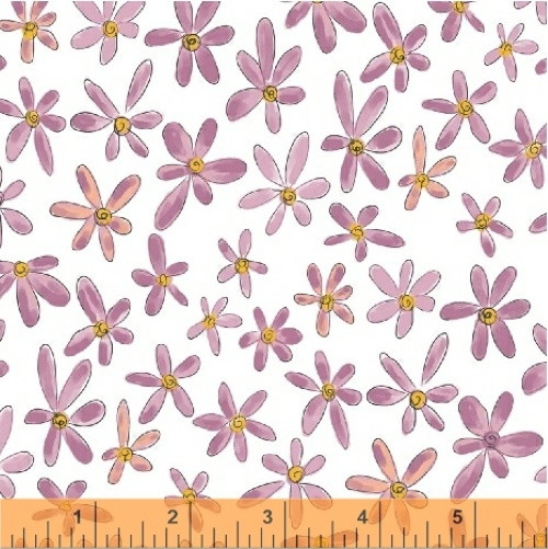 ORCHID FLOWERS ON WHITE FABRIC - 51598-8 Orchid