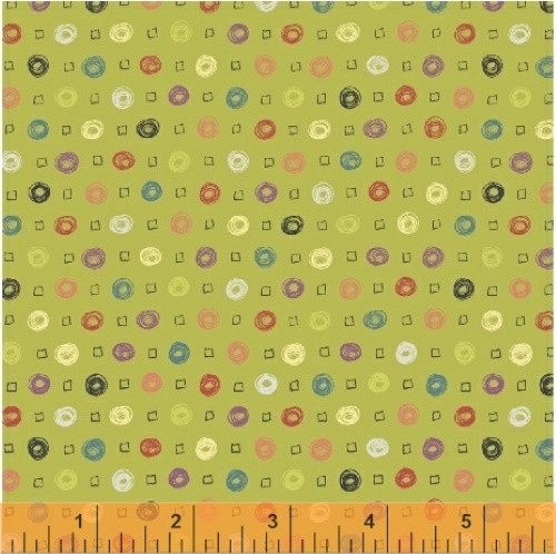 MULTI-COLOR DOTS ON AVOCADO FABRIC - 51599-6 Avocado