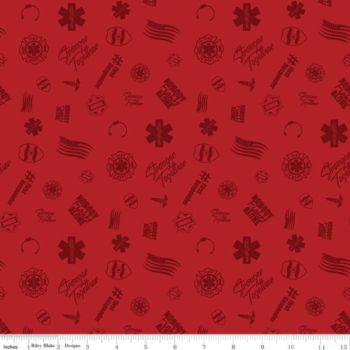 FIRST RESPONDERS TOSSED SYMBOLS FABRIC - C10421-RED