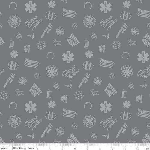 FIRST RESPONDERS TOSSED SYMBOLS FABRIC - C10421-GRAY