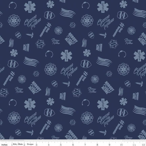 FIRST RESPONDERS TOSSED SYMBOLS FABRIC - C10421-NAVY