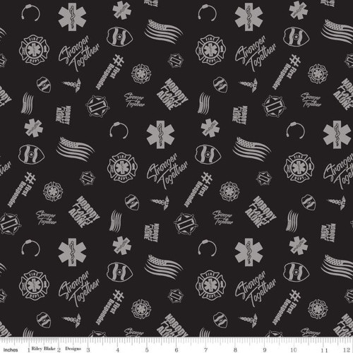 FIRST RESPONDERS TOSSED SYMBOLS FABRIC - C10421-BLACK
